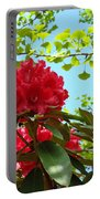 Rhodies Art Prints Red Rhododendron Floral Garden Landscape Baslee Portable Battery Charger