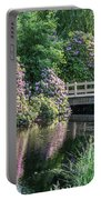 Rhododendrons And Wooden Bridge In Park Portable Battery Charger