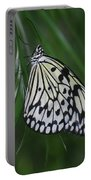 Rice Paper Butterfly Sitting On Green Foliage Portable Battery Charger