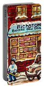 Richstone Bakery Montreal Memories Borden's Milk Truck Street Hockey Art Carole Spandau              Portable Battery Charger