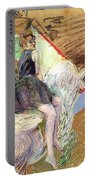 Rider On A White Horse Portable Battery Charger by Henri de Toulouse Lautrec