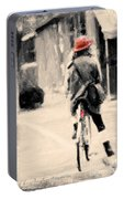 Riding My Bicycle In A Red Hat Portable Battery Charger