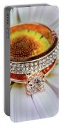 rings on white daisy love Valentine's Day  gerbera and wedding gold  Portable Battery Charger