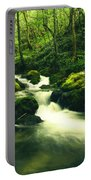 River In A Green Forest Portable Battery Charger