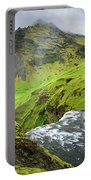 River Skoga And Green Nature In Iceland Portable Battery Charger