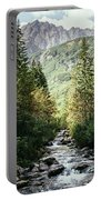 River Stream In Mountain Forest Portable Battery Charger