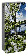 River View Through Flowers. On The Bridge Of Flowers. Portable Battery Charger