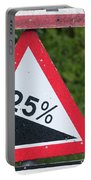 Road Sign Warning Of A 25 Percent Incline. Portable Battery Charger