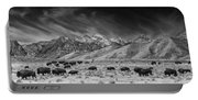 Roaming Bison In Black And White Portable Battery Charger
