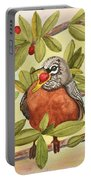 Robin Eating Berries Portable Battery Charger