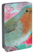 Robin In A Field Of Poppies Portable Battery Charger