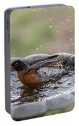 Robin In Bird Bath New Jersey  Portable Battery Charger