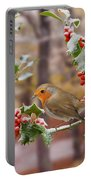 Robin On Holly Twigs Portable Battery Charger