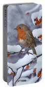 Robin On Snow-covered Rose Hips Portable Battery Charger