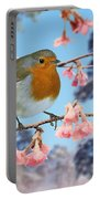 Robin On Winter Flowering Plum Portable Battery Charger