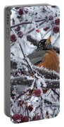 Robin Perched In Crabapple Tree Portable Battery Charger