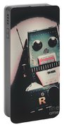Robotic Mech Under Vintage Spotlight Portable Battery Charger