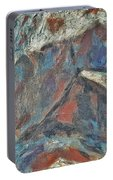 Rock Landscape Abstract  Fall Waves And Forests Swirling In The Background In Red Blue Orang Portable Battery Charger
