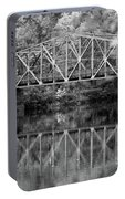 Rocks Village Bridge In Black And White Portable Battery Charger