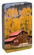 Rocky Mountain Autumn Ranch Landscape Portable Battery Charger
