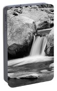 Rocky Mountain Canyon Waterfall In Black And White Portable Battery Charger