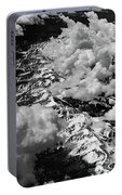 Rocky Mountains In Colorado With Snow Aerial Black And White Portable Battery Charger