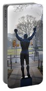 Rocky Statue From The Back Portable Battery Charger