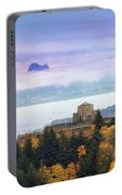 Rolling Fog At Columbia River Gorge In Fall Portable Battery Charger