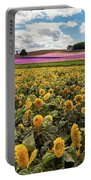 Rolling Hills Of Flowers In Summer Portable Battery Charger