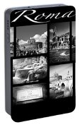 Roma Black And White Poster Portable Battery Charger