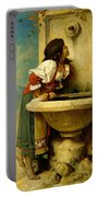 Roman Girl At A Fountain Portable Battery Charger