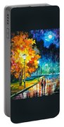 Romantic Night 2 - Palette Knife Oil Painting On Canvas By Leonid Afremov Portable Battery Charger