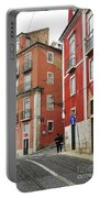Romantic Walking At Old Lisbon Portable Battery Charger