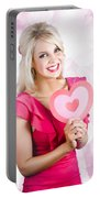 Romantic Woman With Heart Shape Valentine Card Portable Battery Charger