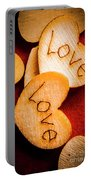 Romantic Wooden Hearts Portable Battery Charger