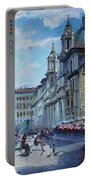Rome Piazza Navona Portable Battery Charger by Ylli Haruni