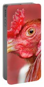 Rooster Close-up On A Reddish Background Portable Battery Charger