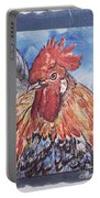 Rooster Country Painting On Blue  Portable Battery Charger