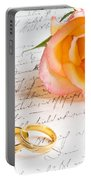 Rose And Two Rings Over Handwritten Letter Portable Battery Charger