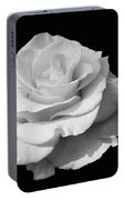 Rose Unfurled In Black And White Portable Battery Charger