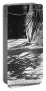 Rose Vase In Shadows Black And White Portable Battery Charger