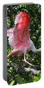 Roseate Spoonbill In Flight Portable Battery Charger