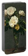Roses In A Champagne Flute Portable Battery Charger by Ignace Henri Jean Fantin-Latour