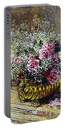 Roses In A Copper Vase Portable Battery Charger by Claude Monet