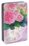 Roses In A Pink Floral Jug Portable Battery Charger