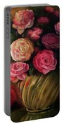Roses In Brass Bowl Portable Battery Charger