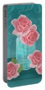 Roses In Clear Blue Jar Portable Battery Charger