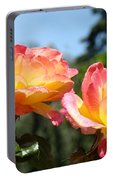 Roses Yellow Roses Pink Summer Roses 4 Blue Sky Landscape Baslee Troutman Portable Battery Charger