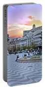Rossio Square In Lisbon Portugal At Sunset Portable Battery Charger
