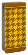 Rounded Houndstooth With Border In Mustard Portable Battery Charger